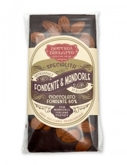 Bar of  dark chocolate with almonds